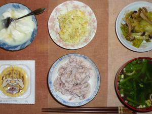 胚芽押麦入り五穀米,納豆,コールスロー,キャベツとシメジの炒め物,ほうれん草とワカメのおみそ汁,オリゴ糖入りヨーグルト