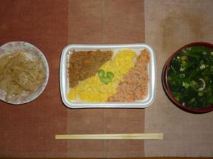 三食そぼろ弁当,もやしのわさび醤油和え,分葱とほうれん草のおみそ汁,