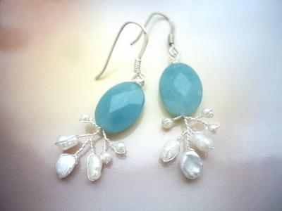 wire branch earrings amazonite
