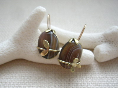botswana agate metal smith earrings