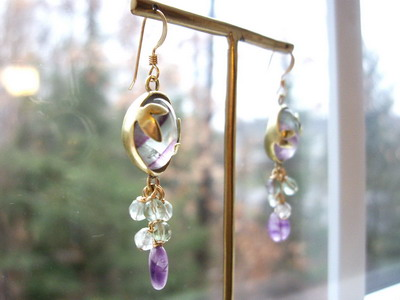 fluorite metalsmith earrings