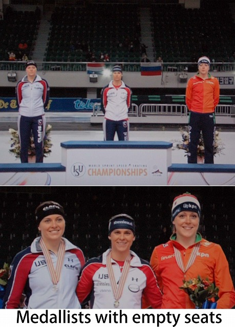 Ladies total 01 Medallists with empty seats