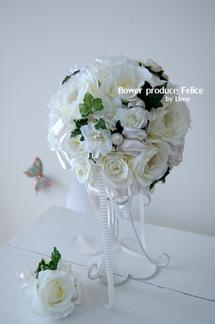 造花ラウンドブーケ かわいい プレ花嫁