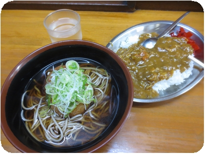 コロッケそば+カレーセット(690円)