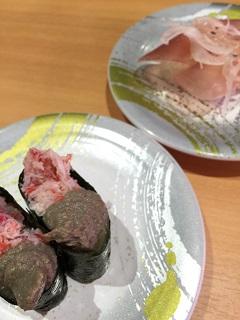 回転寿司 トポス カニ味噌軍艦 生ハム握り