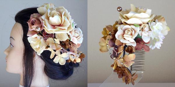大輪ベージュローズとベルベット紫陽花の和装髪飾り