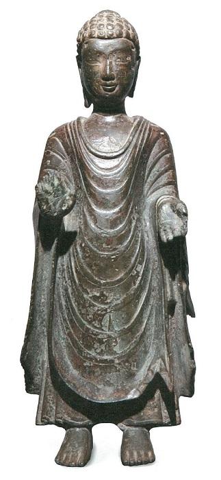 扶南(ベトナム・カンボジア方面)もしくは中国作の如来立像(6世紀)