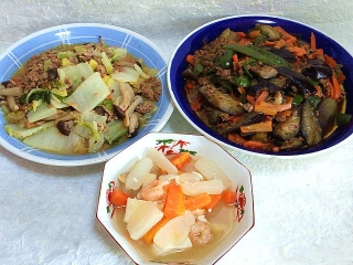 151030_3565白菜の胡麻だれ炒め・茄子とピーマンの肉味噌炒め・豆腐と大根の中華風スープVGA