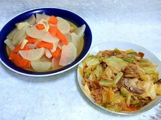 151110_3587大根と人参の和風煮物・豚肉とキャベツの甘辛炒めVGA