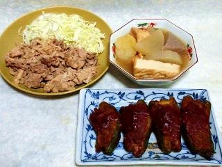 160105_3711豚肉の生姜焼きサラダ・おでん・ピーマンの肉詰め赤ワインソースがけVGA