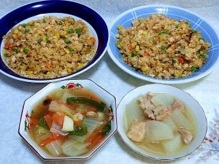 160112_3720焼豚炒飯x2・八宝菜・大根と鶏肉の煮物VGA