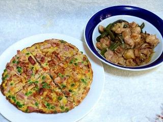 160115_3724スパニッシュオムレツ・鶏モモ肉と野菜炒めVGA