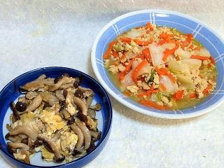 160122_3733しめじと卵のバター醤油炒め・白菜と挽肉の胡麻だれ炒めVGA