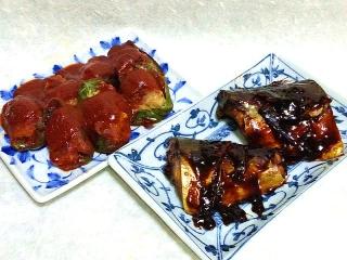 160126_3736肉詰めピーマン赤ワインソース掛け・鯖の味噌煮VGA
