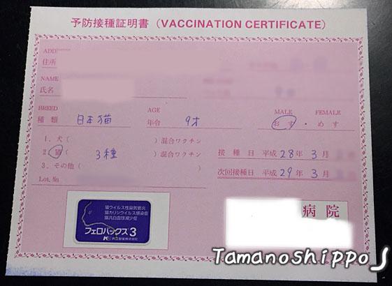 予防接種(ワクチン)証明書(ちび)2016