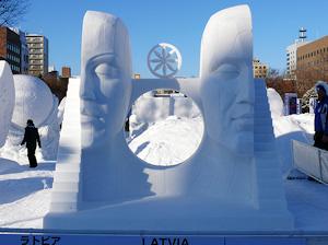 ラトビアの雪像