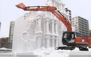 雪像取り壊し