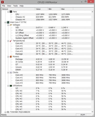 Core i7 5775C Idle時温度