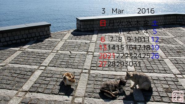 2016 3月 猫デスクトップカレンダー