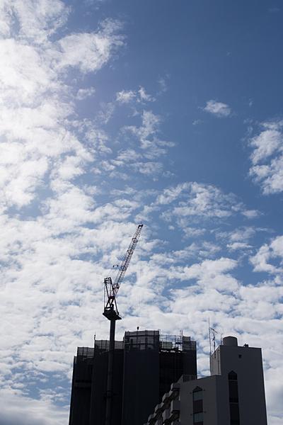 伸びるビルと冬の空