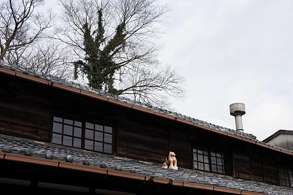 屋根の上の焼き物シーサー