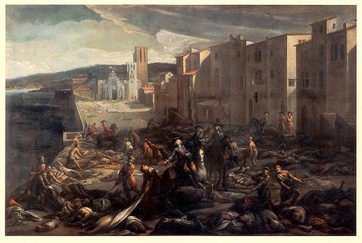 Chevalier_Roze_à_la_Tourette_-_1720 ペストによって死屍累々となった街を描いたヨーロッパの絵画