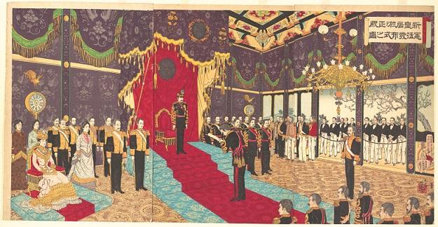新皇居於テ正殿憲法発布式之図(1889年、安達吟光画)