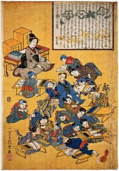 寺子屋の筆子と女性教師  一寸子花里「文学ばんだいの宝」