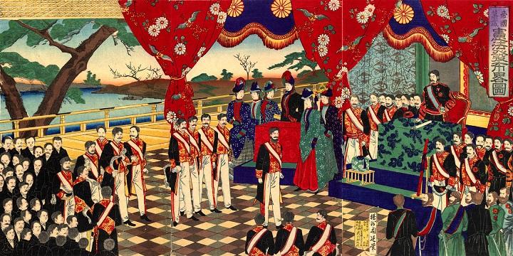 憲法発布略図(1889年、楊洲周延画)