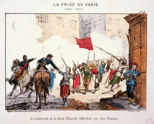 Femmes défendant la barricade de la place Blanche