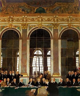 『ヴェルサイユ宮殿、鏡の間における講和条約調印、1919年6月28日』。作・ウィリアム・オルペン