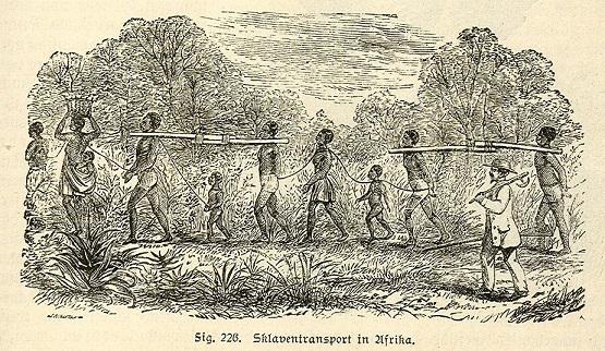 アフリカに於ける奴隷狩りの様子。
