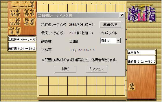 詰将棋レーティング戦七+段到達
