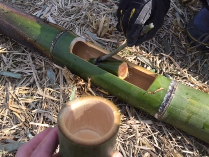 竹で飲む日本酒