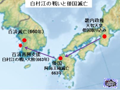 白村江の戦と倭国滅亡図