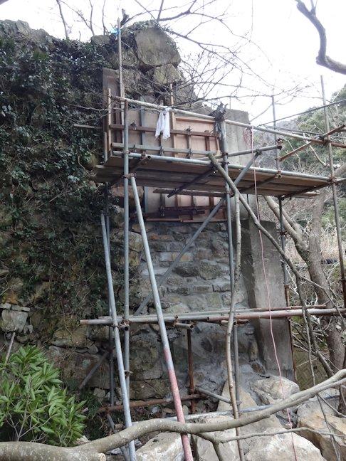 K邸擁壁(石垣)補修~石積み・擁壁コン打設