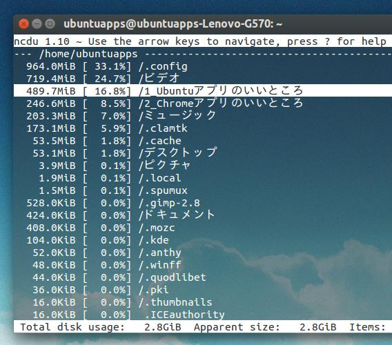 Ncdu Ubuntu ディスク利用状況 パーセント表示